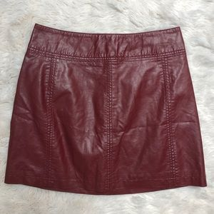 Free People Red Faux Leather Zip Back Skirt